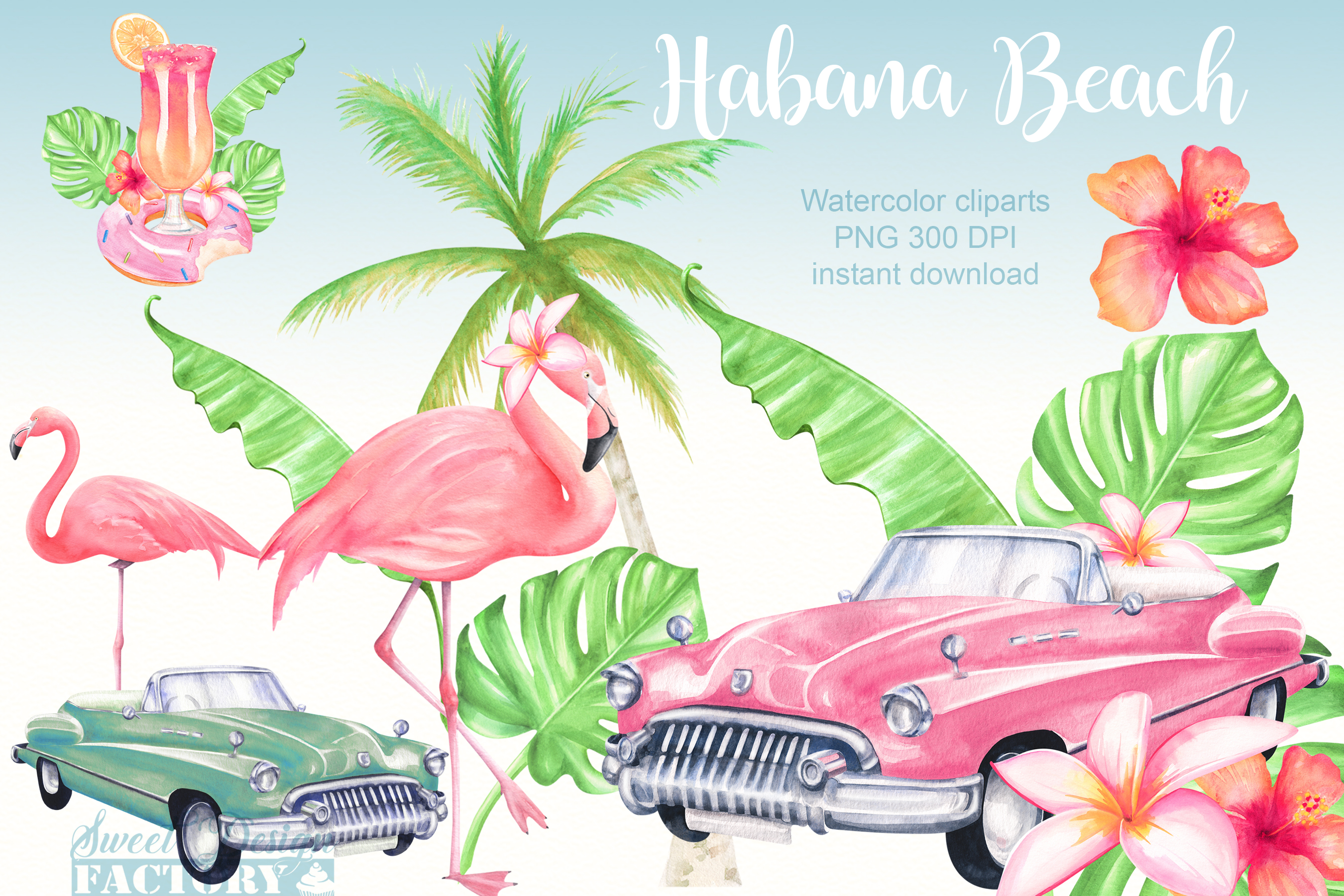 Watercolor flamingos and retro cars summer clipartS example image 1