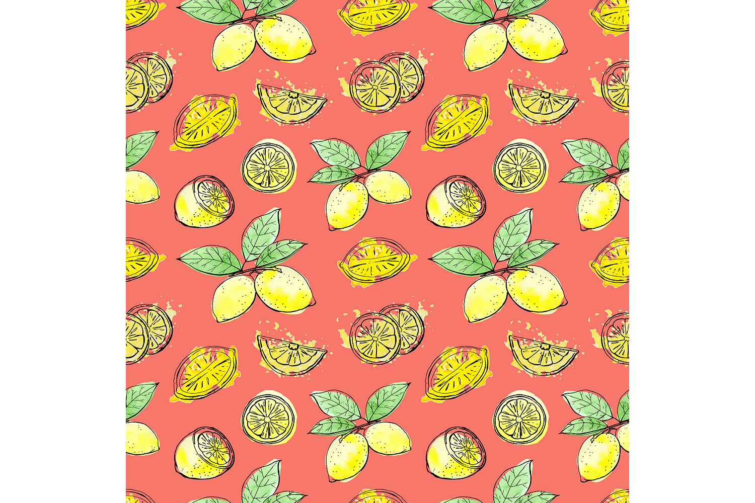 Sketch lemons. Watercolor. Vector. example image 5