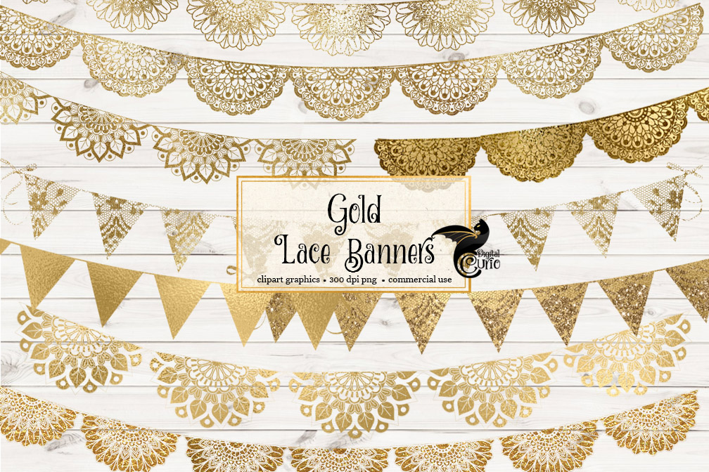 Gold Lace Banners Clipart example image 2