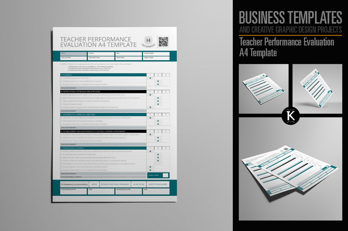Teacher Performance Evaluation A4 Template example image 1