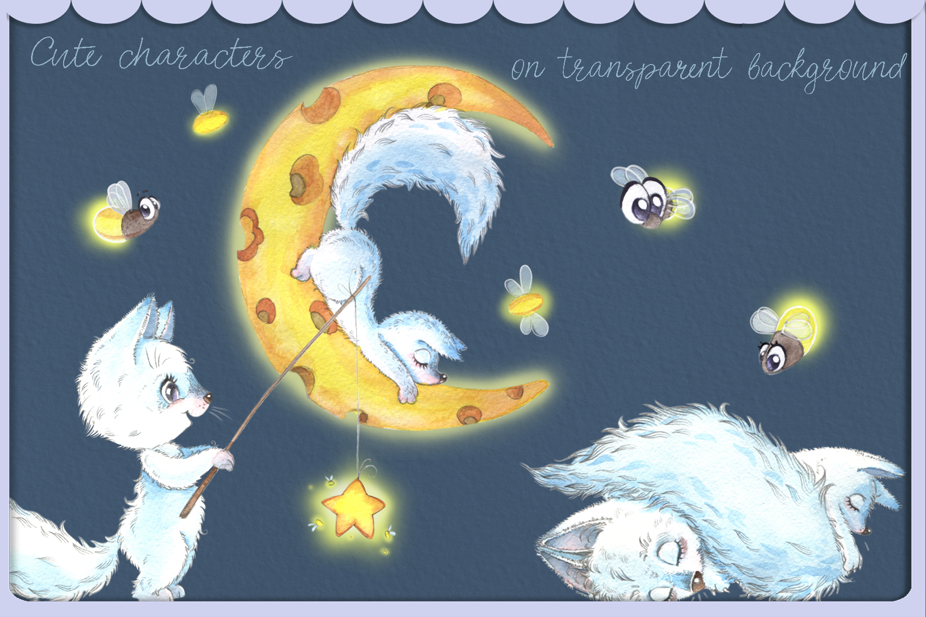 Arctic fox and glowwarm night watercolor clipart kit for bab example image 6