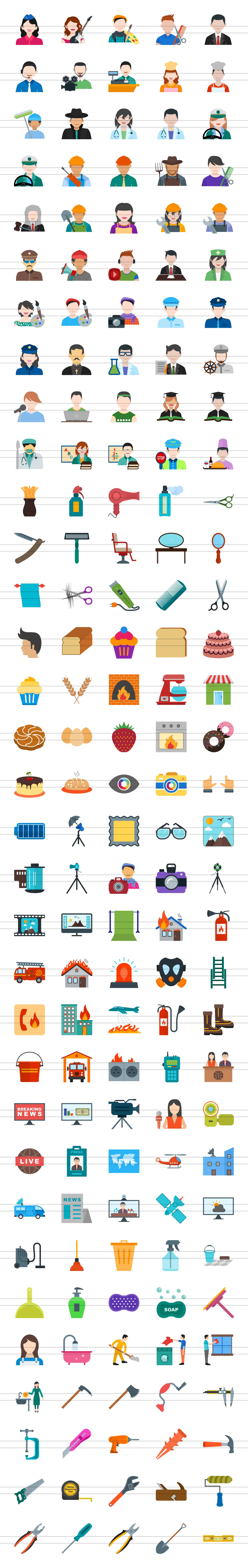 166 Professionals & their tools Flat Icons example image 2