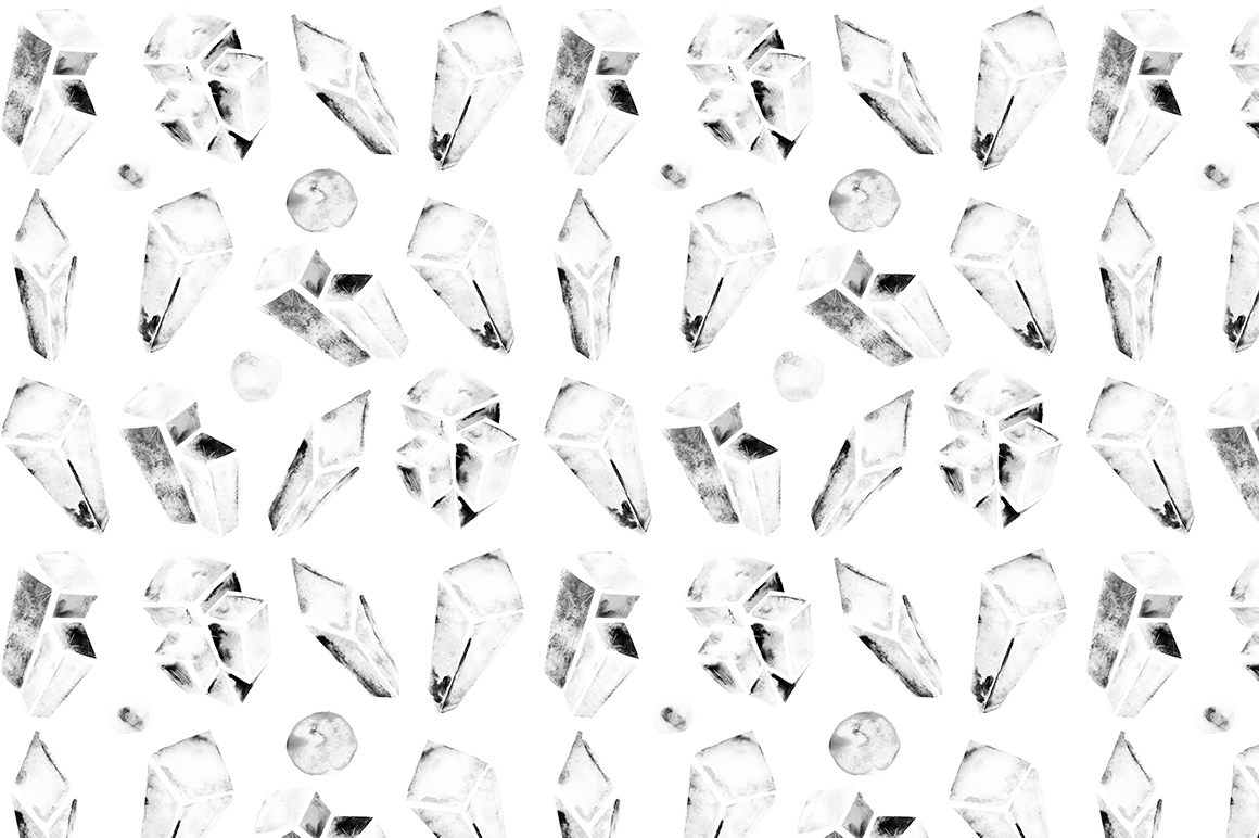 Watercolor crystals patterns example image 6