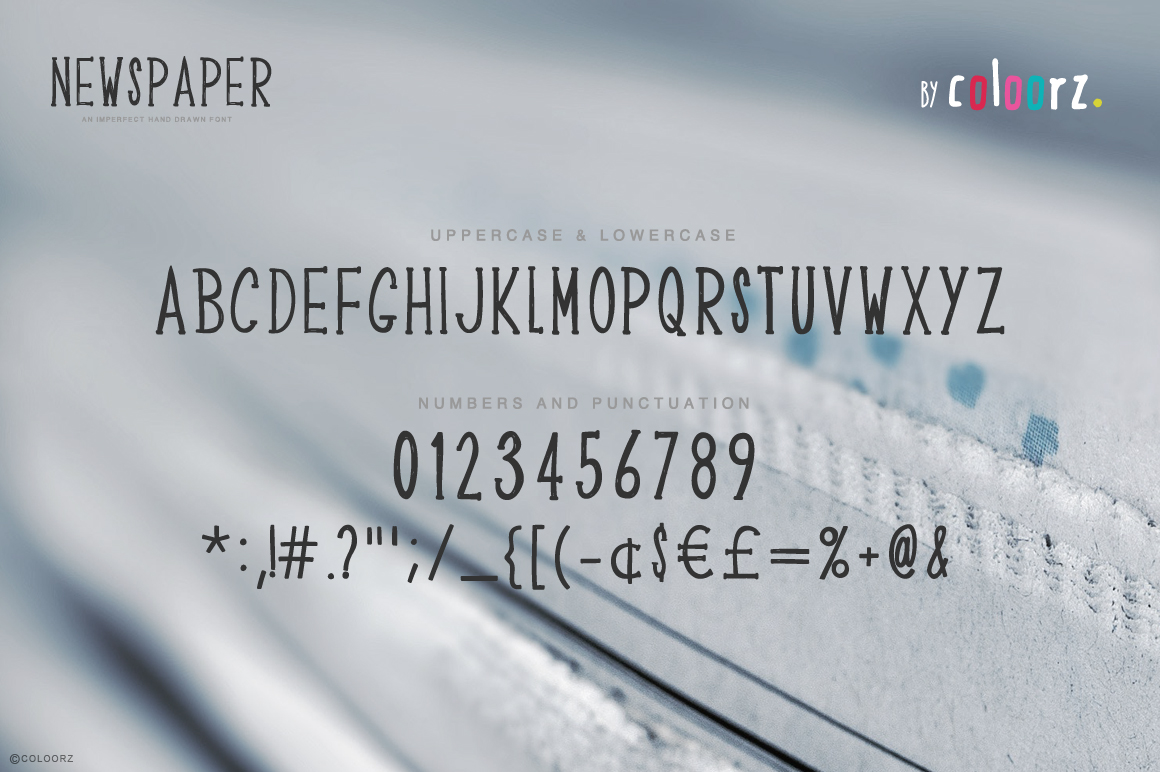 NEWSPAPER hand drawn font example image 2