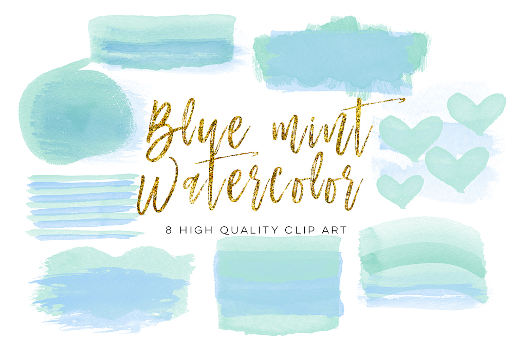 blue mint brush strokes, Blue Green Watercolor Circles, Blue & Green Watercolor and Shimmer Circles, ombre brush strokes,  DIY Clipart example image 2