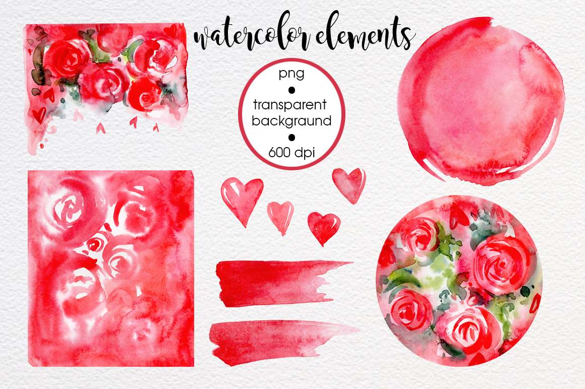 Watercolor collection Valentine Day example image 5