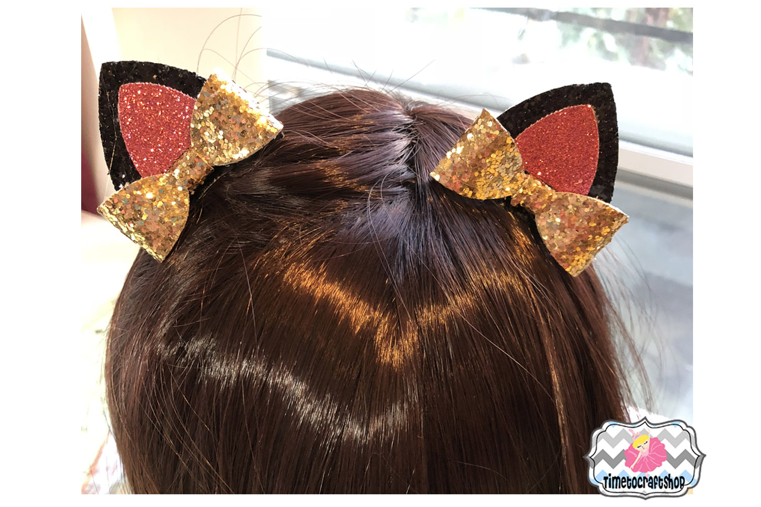 Cat Ears Hair bow Template. example image 2