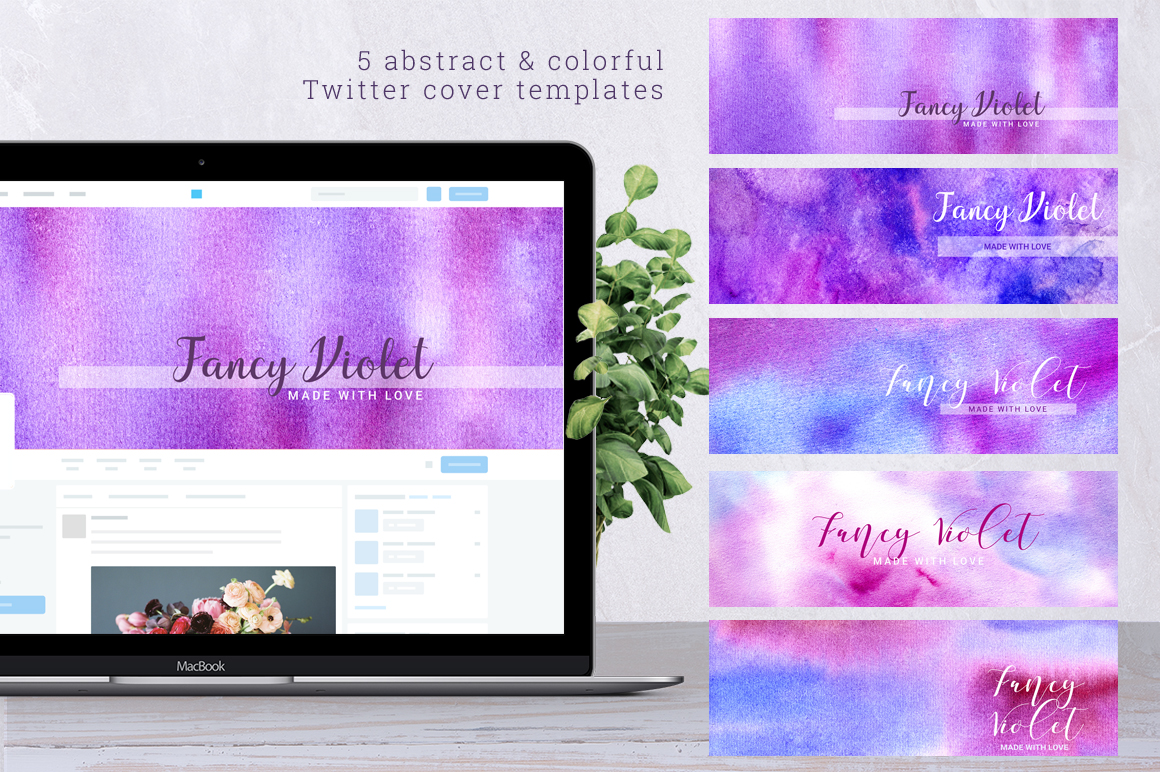 Fancy Violet - watercolor backgrounds example image 4