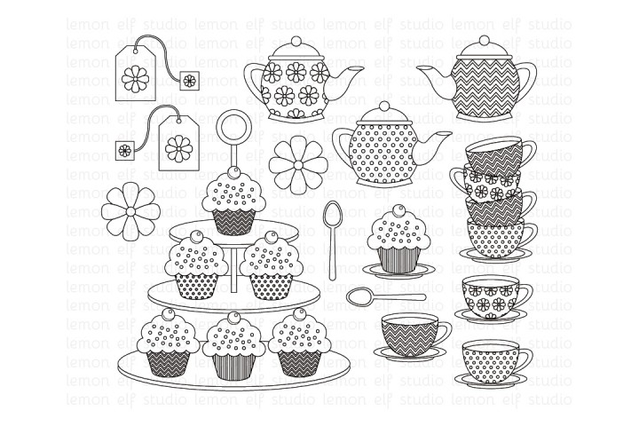 Tea Time-Digital Stamp (LES.DS08) example image 1