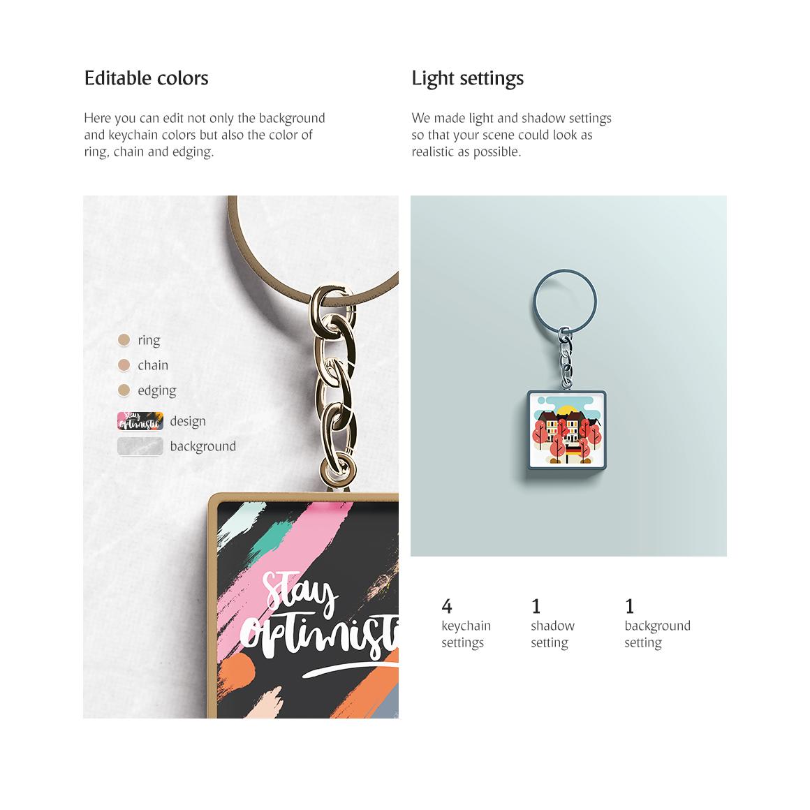 Square Keychain Mockup example image 3