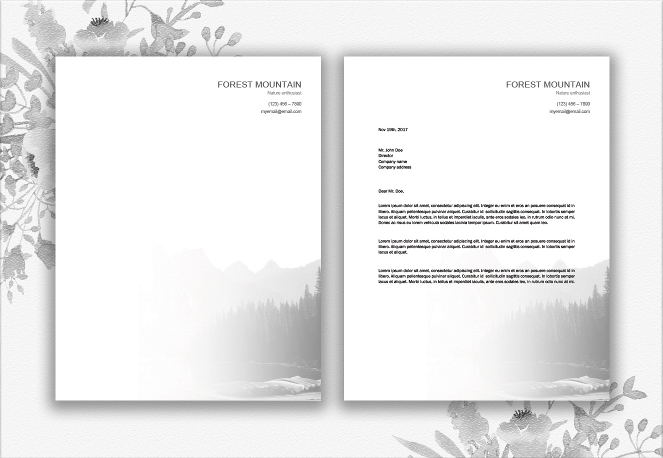 Mountains Letterhead Design Template example image 3
