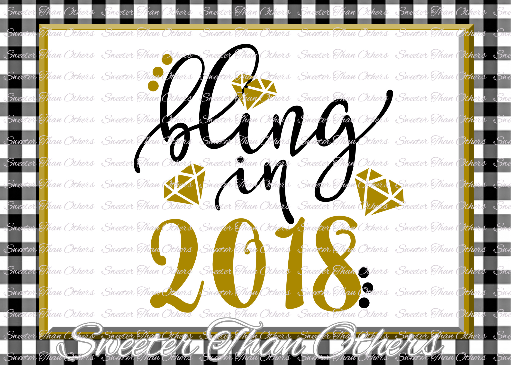 Bling in 2018 svg, New Year 2018 SVG example image 1