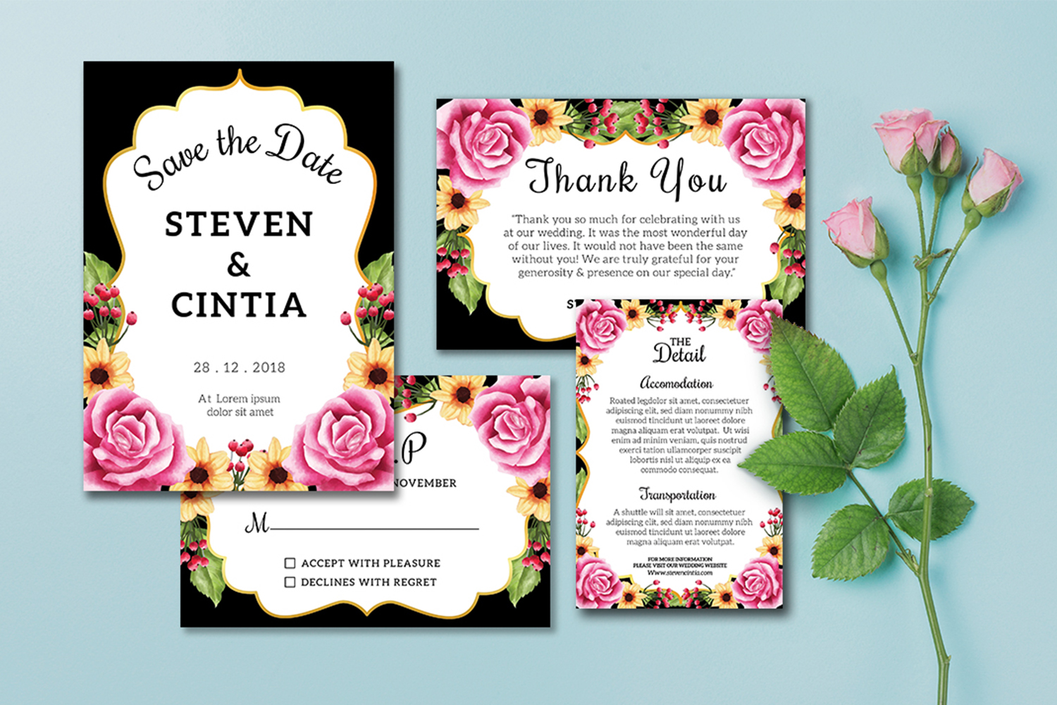 Wedding invitation floral rose Collection example image 3