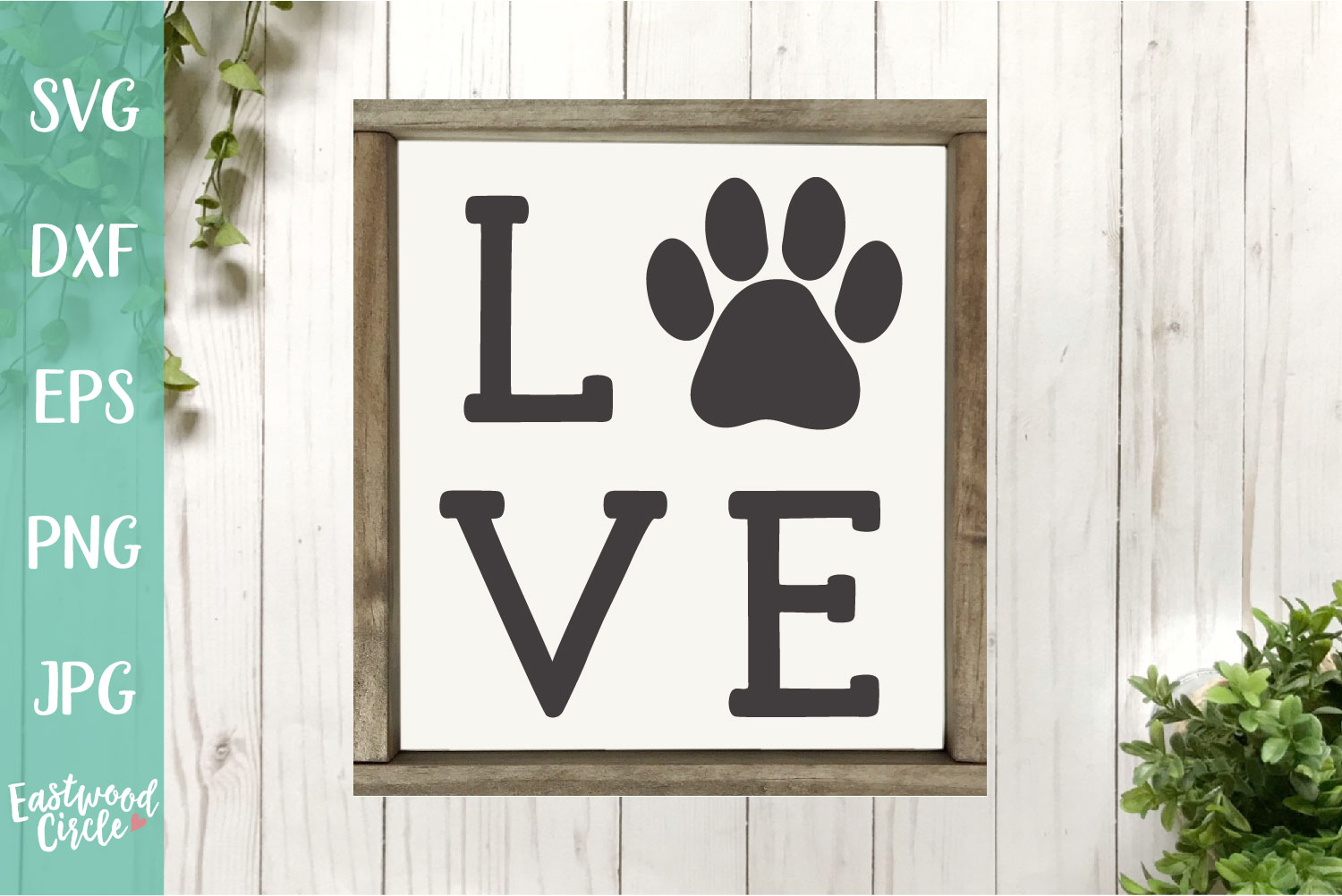 Love with Pawprint - Dog SVG File example image 2