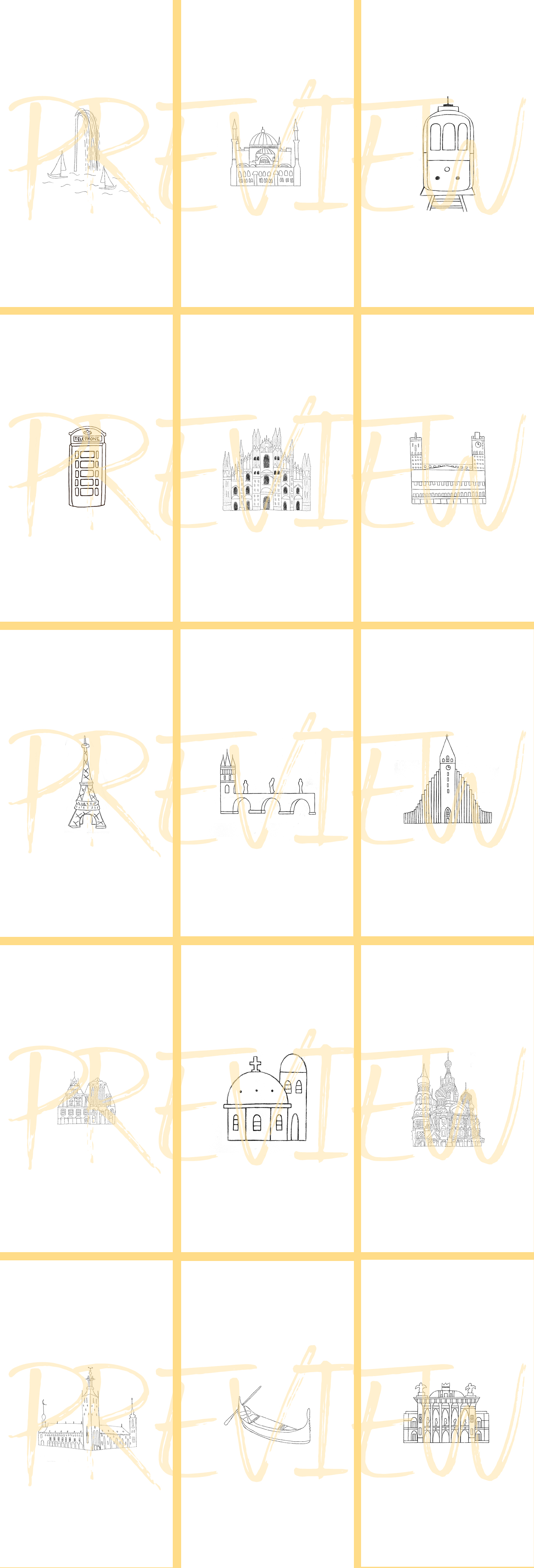 Instagram Story Travel Icons, 27 Hand Drawn City Icons example image 2