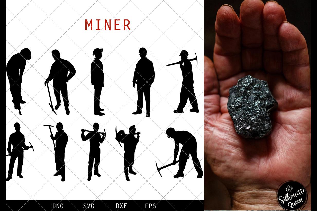 Miner svg file, mine svg cut file, silhouette studio example image 1