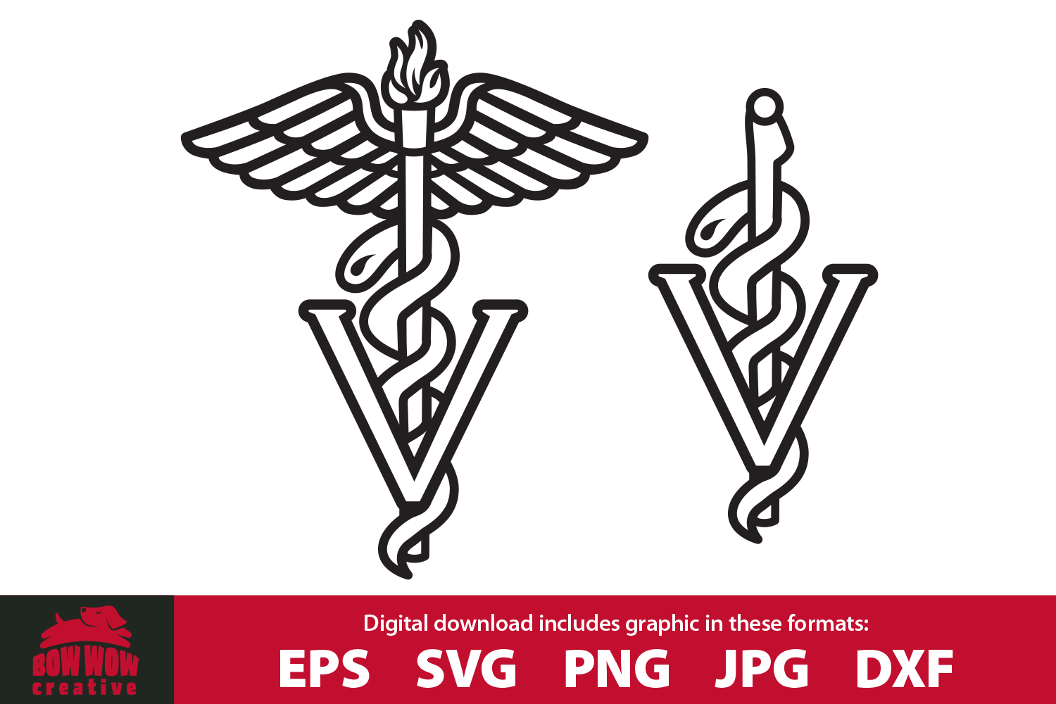 Veterinarian Caduceus Medical Staff - SVG, EPS, PNG, DXF example image 1