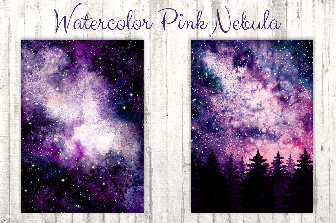 Watercolor Pink Nebula Collection example image 2