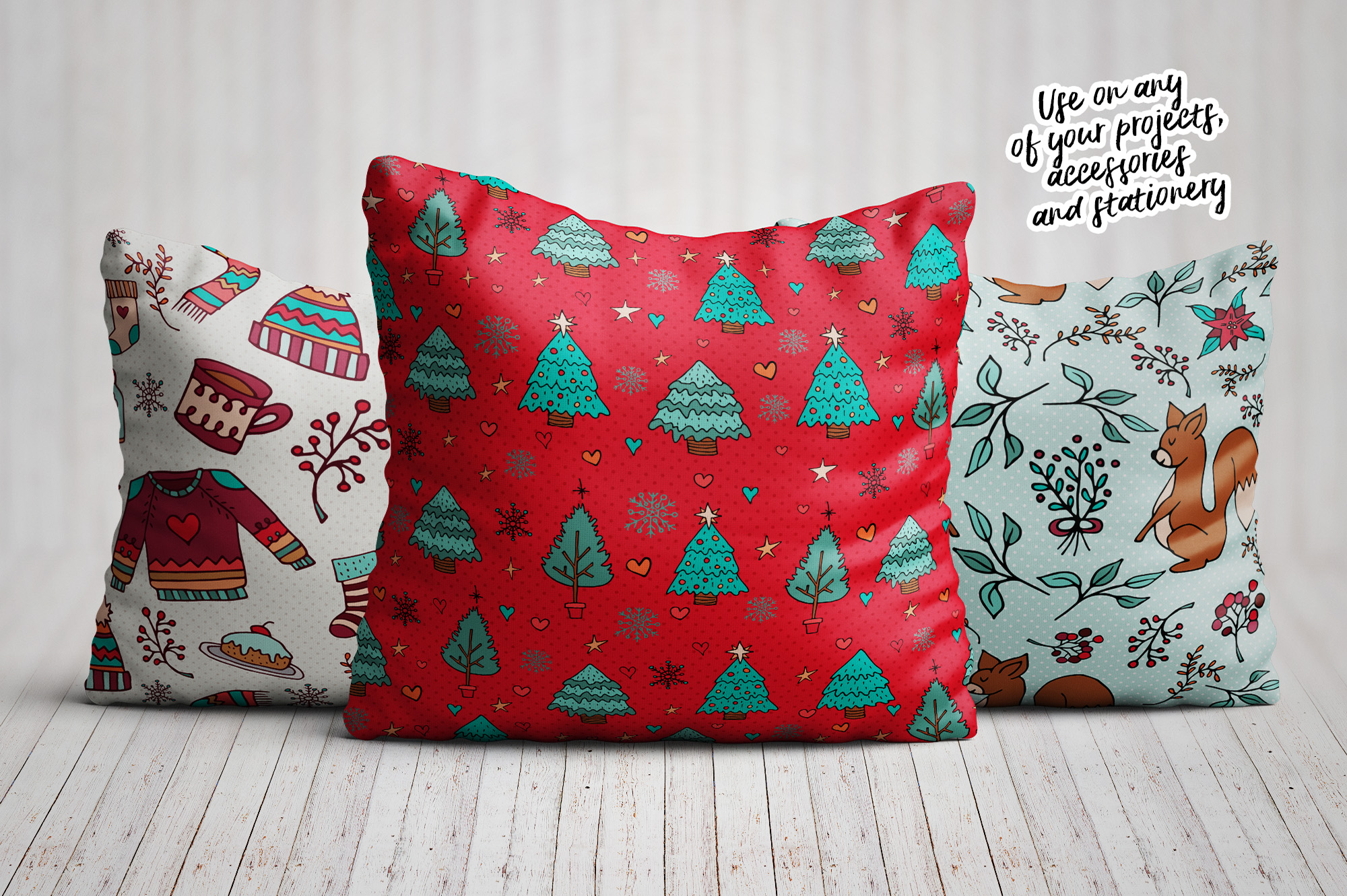 Sweet Christmas: hand drawn set with cute animals example image 12