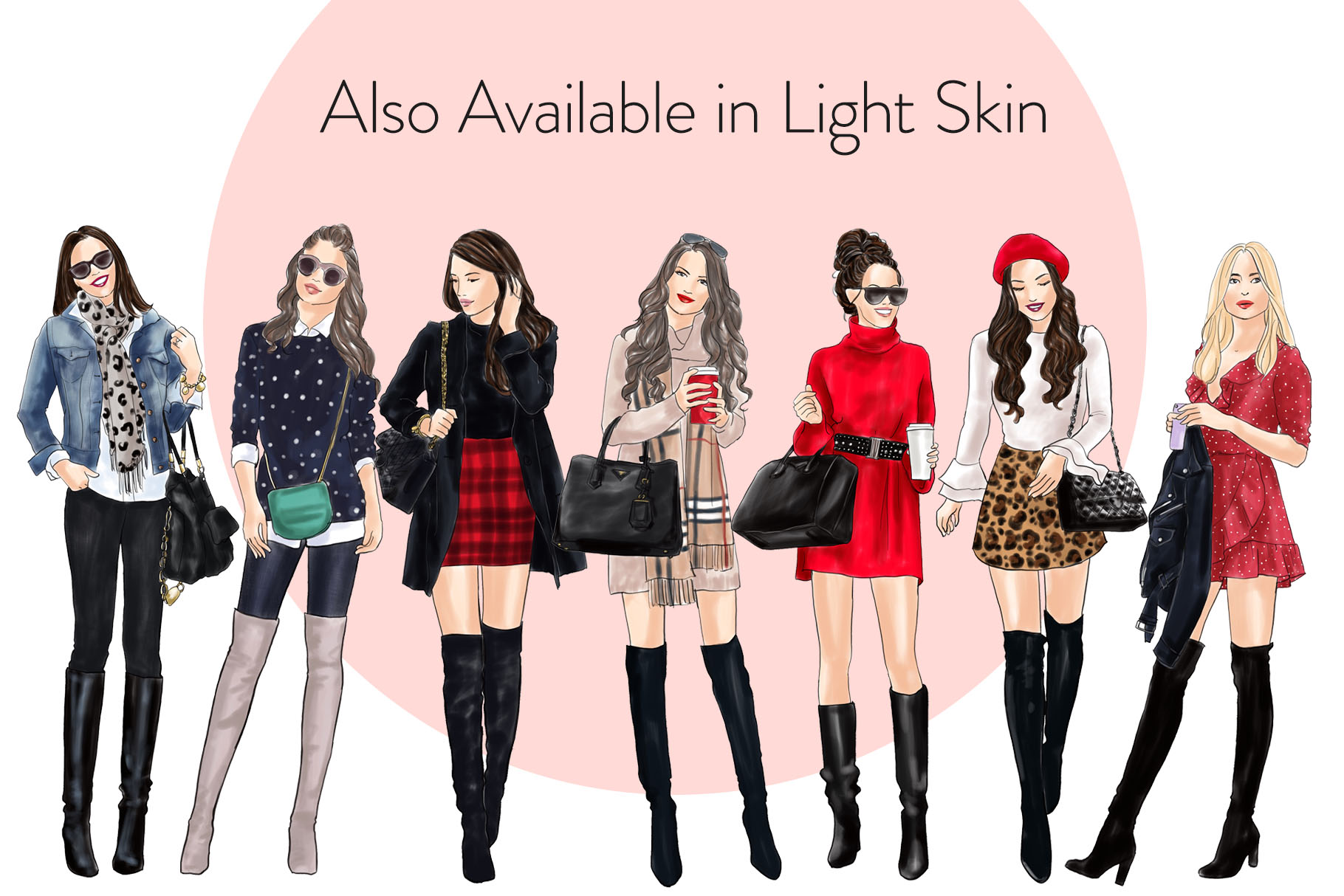 Fashion illustration clipart - Girls in Boots 1 - Dark Skin example image 4