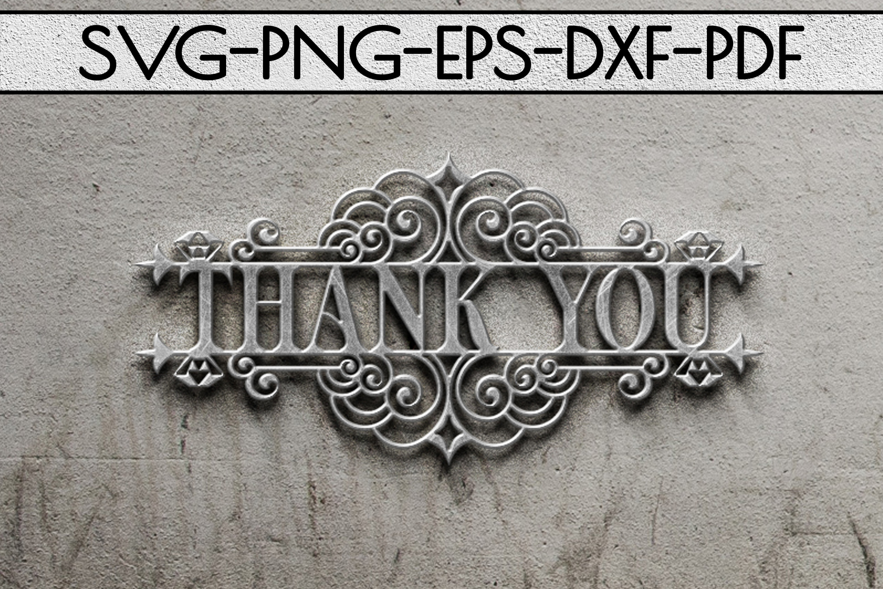 Thank You 5 Papercut Template, Appreciation Sign SVG, PDF example image 2