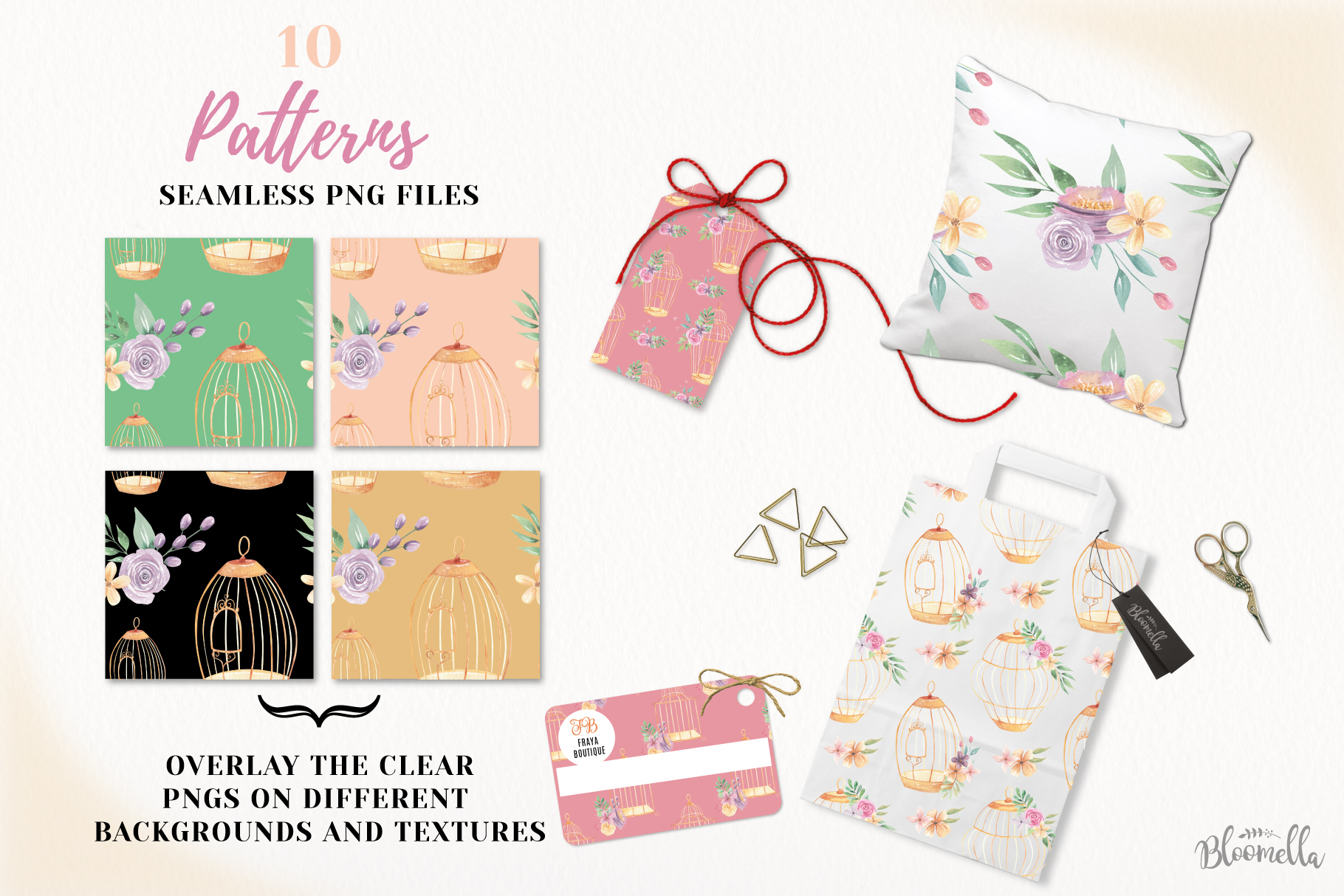 Birdcage Flower Patterns Digital Papers Peach Wedding Floral example image 2