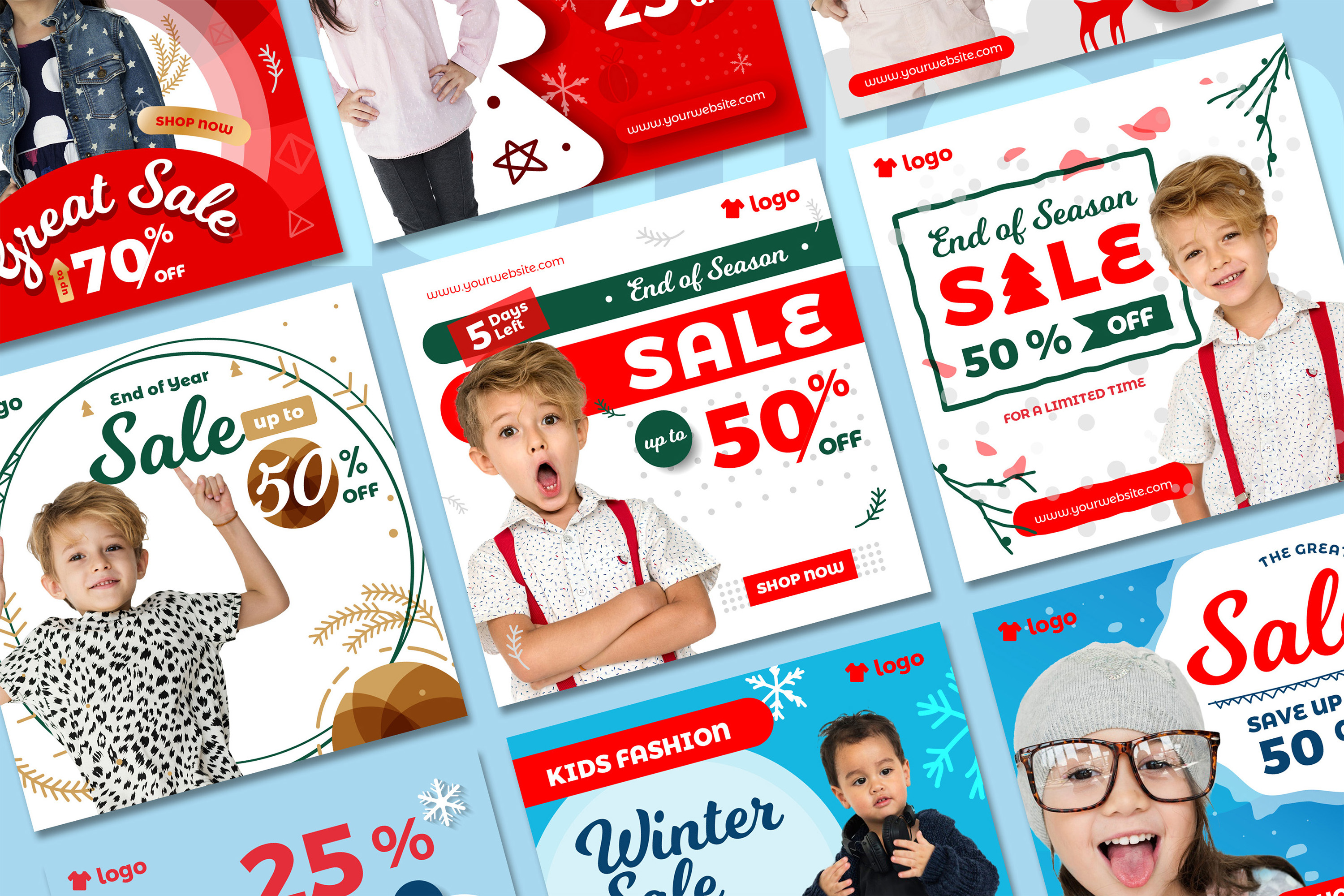 Kids Fashion Winter Sale Social Media Post template example image 2