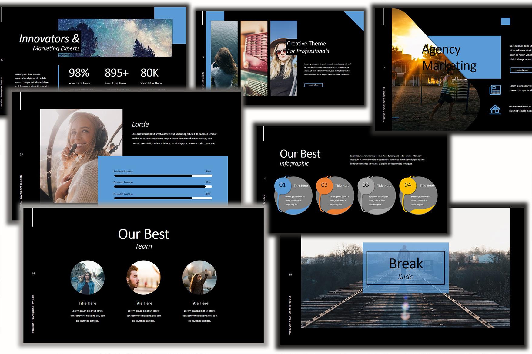 Vacation Lookbook Dark Powerpoint Template example image 3