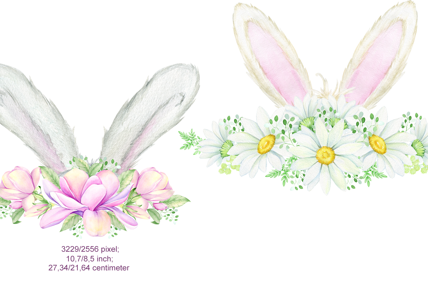 Watercolor Easter Bunny ears Clipart example image 2