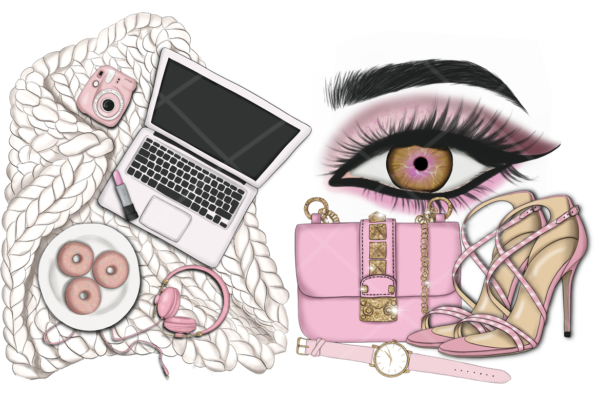 Think Pink Clipart & Patterns example image 12