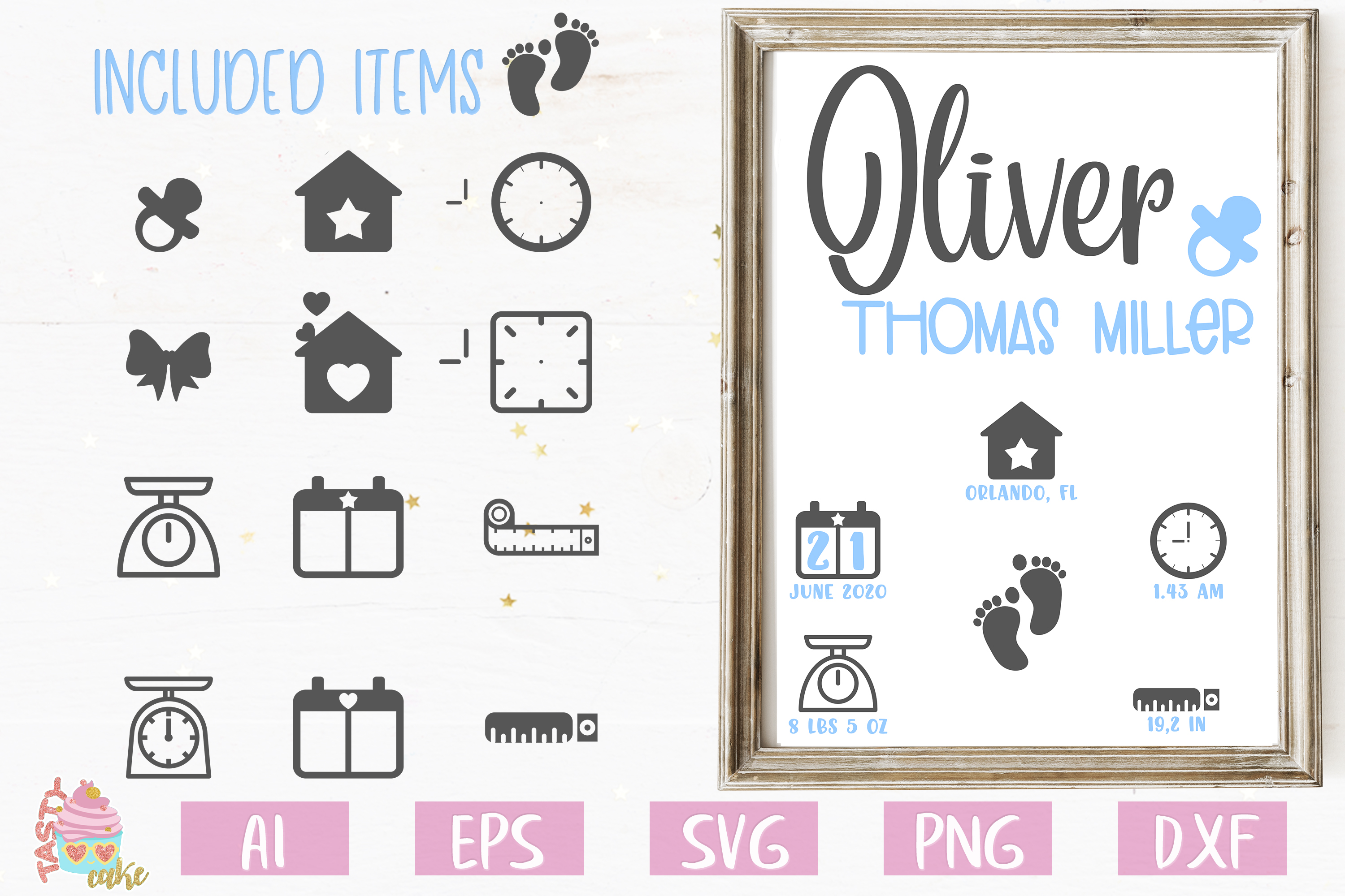 Baby Birth Stats SVG - Birth Announcement Template example image 2