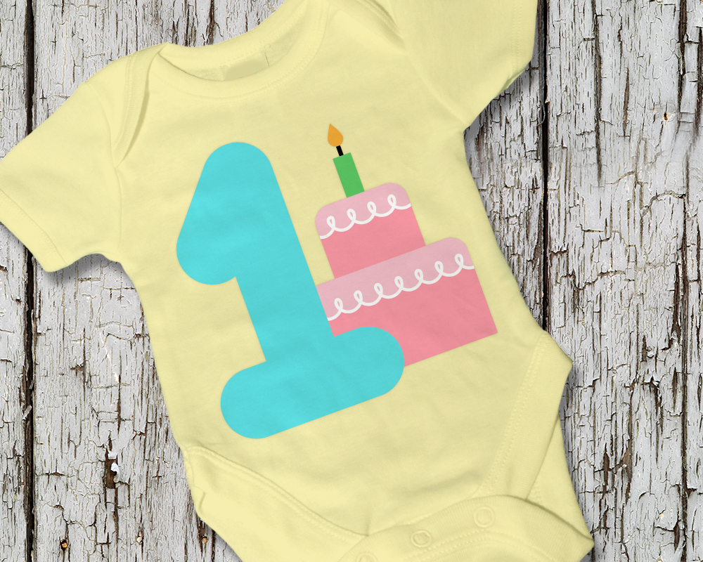 First Birthday Party Cake SVG File Cutting Template example image 1