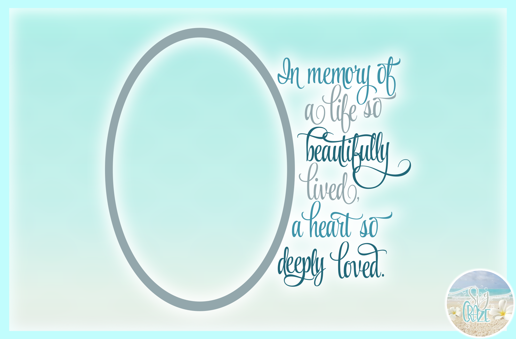 In Memory of Life Beautifully Lived Heart Deeply Loved SVG example image 3