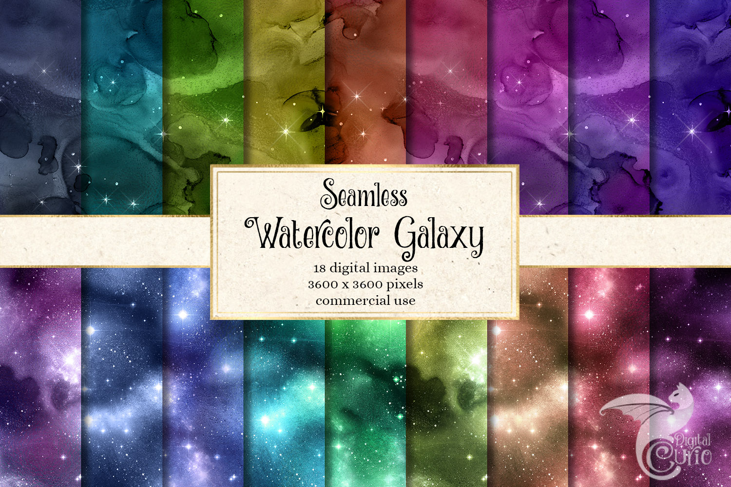 Seamless Watercolor Galaxy Textures example image 1