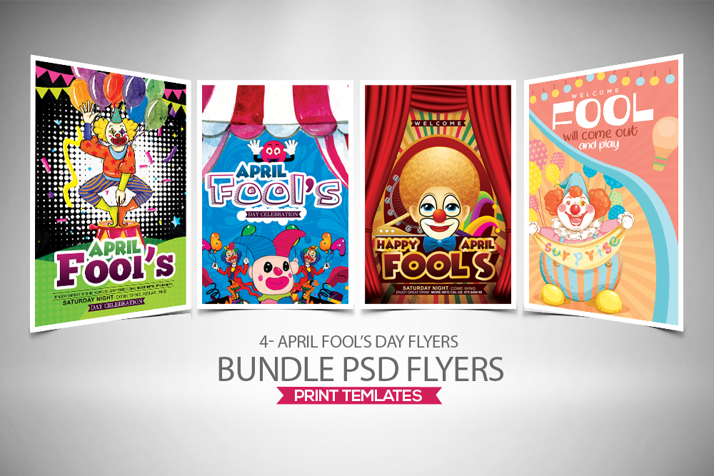 4 April' Fool Party Flyers Bundle example image 1