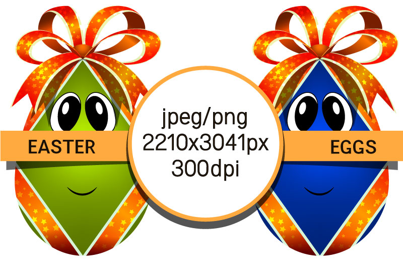 Easter eggs with bows. Egg characters for Easter in png, jpg example image 4