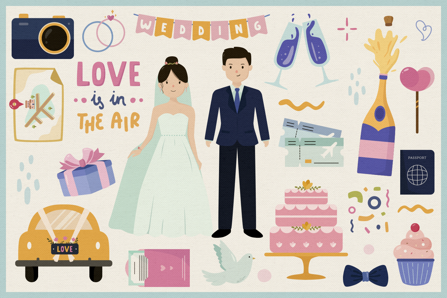 Wedding Day Vector Clipart and Seamless Pattern example image 2