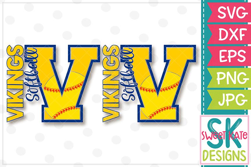 V Vikings Softball SVG DXF EPS PNG JPG example image 1