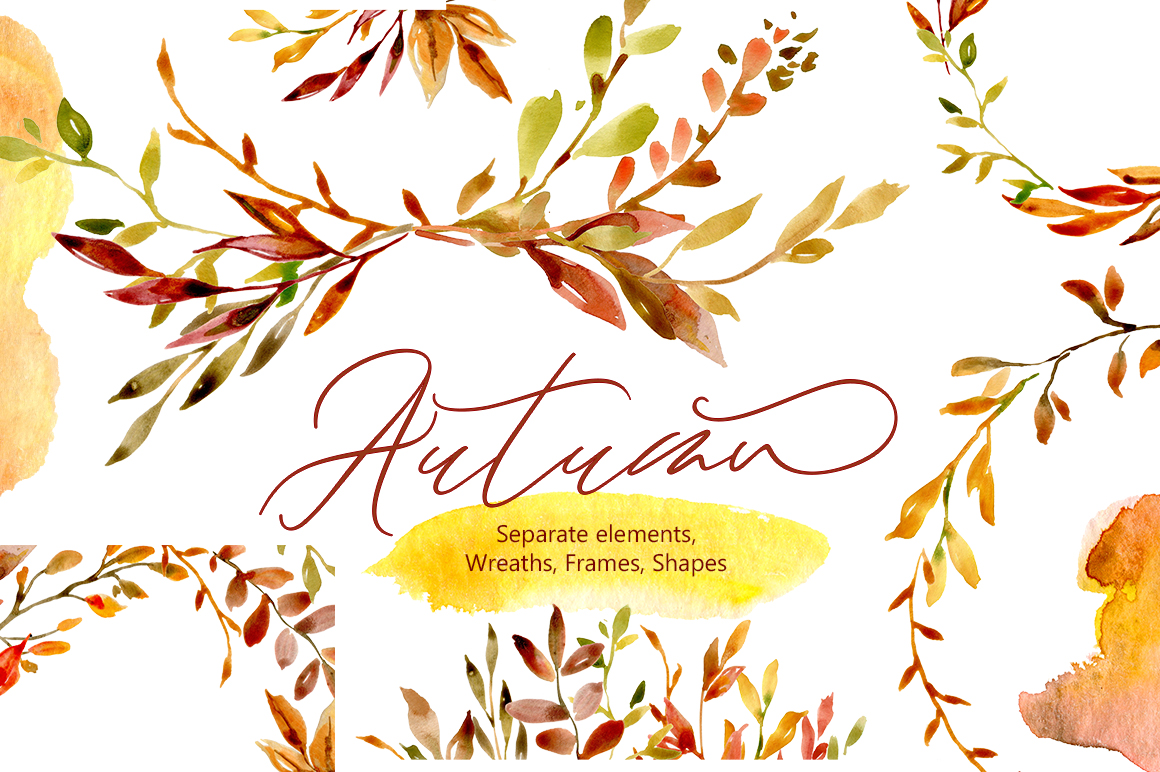 Watercolor Autumn Leaves & Branches example image 1