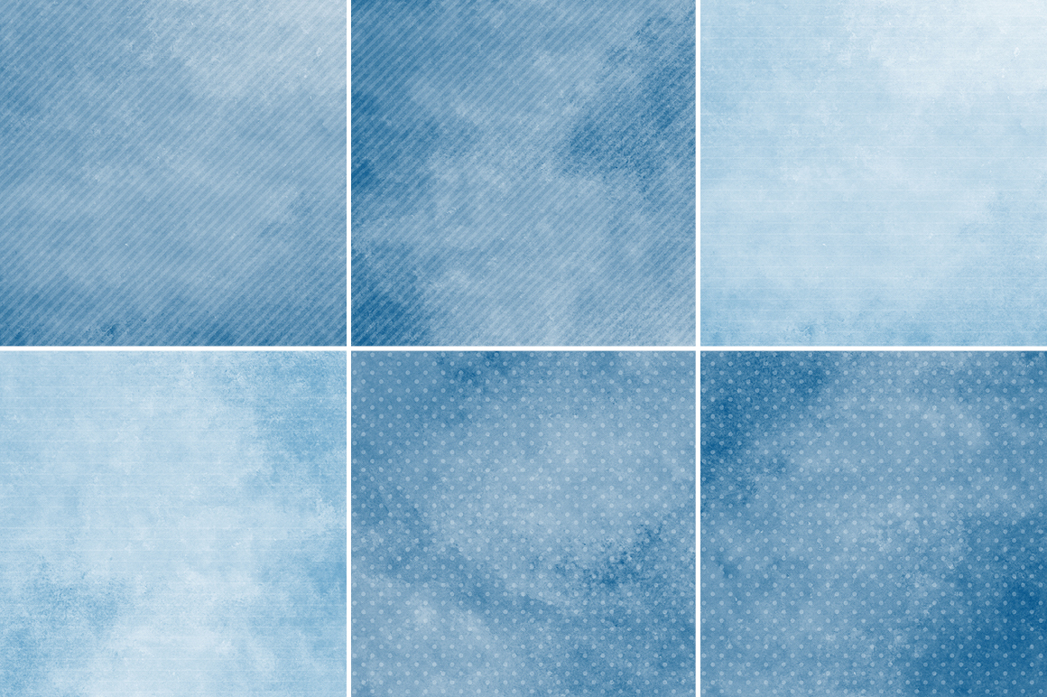 Watercolor Texture Backgrounds With Dots & Stripes - Blue example image 3