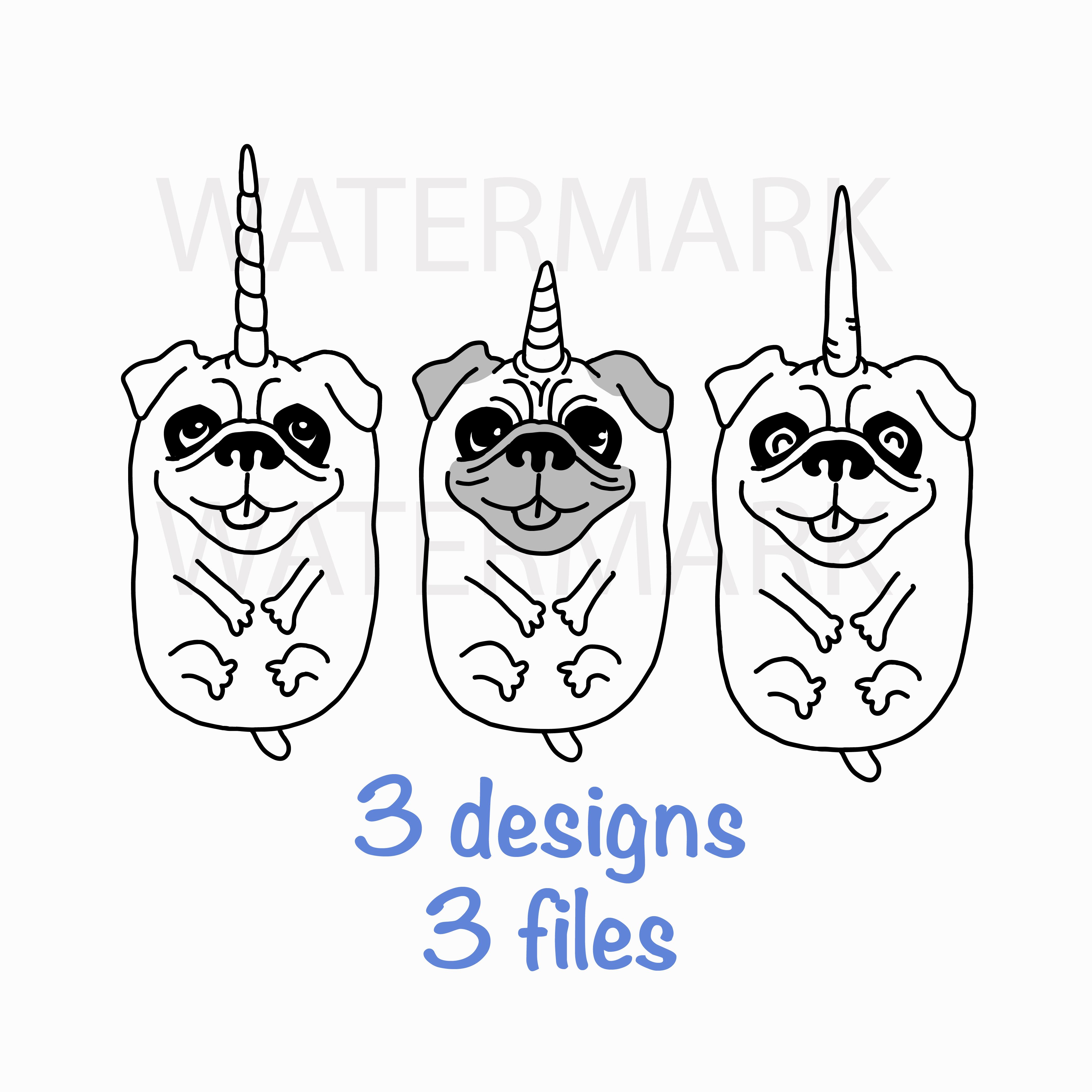 Unicorn Pug Dog Three Style - SVG/JPG/PNG Hand Drawing example image 1