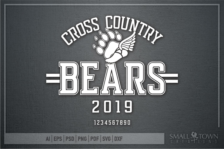 Bear Cross Country, Paw Print, Team, PRINT, CUT & DESIGN example image 5