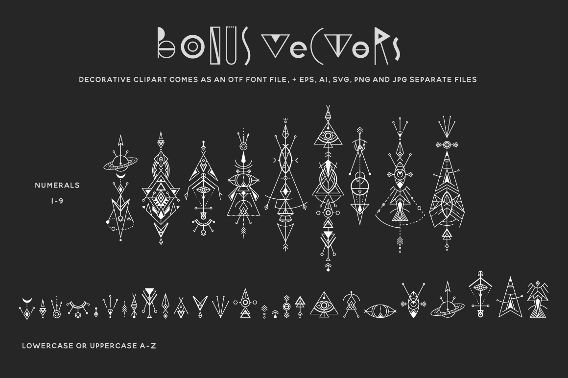 Space Geometry Font + Vector Bonuses example image 3