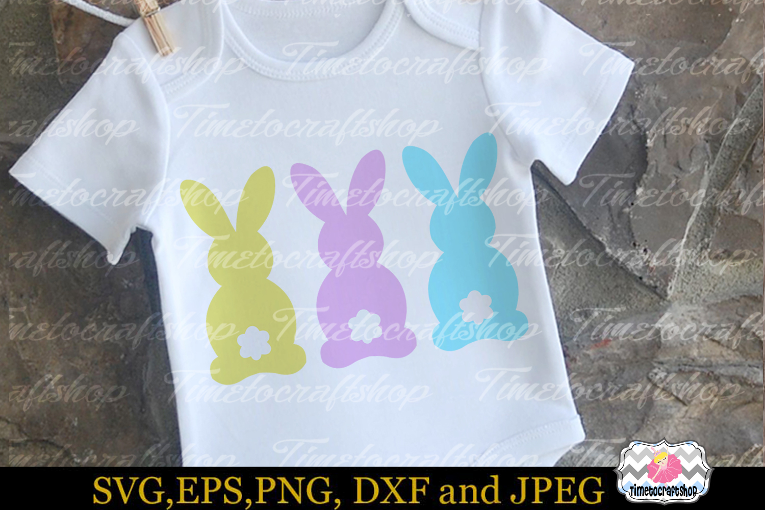 SVG, Eps, Dxf & Png Cutting Files For Easter Bunny example image 2
