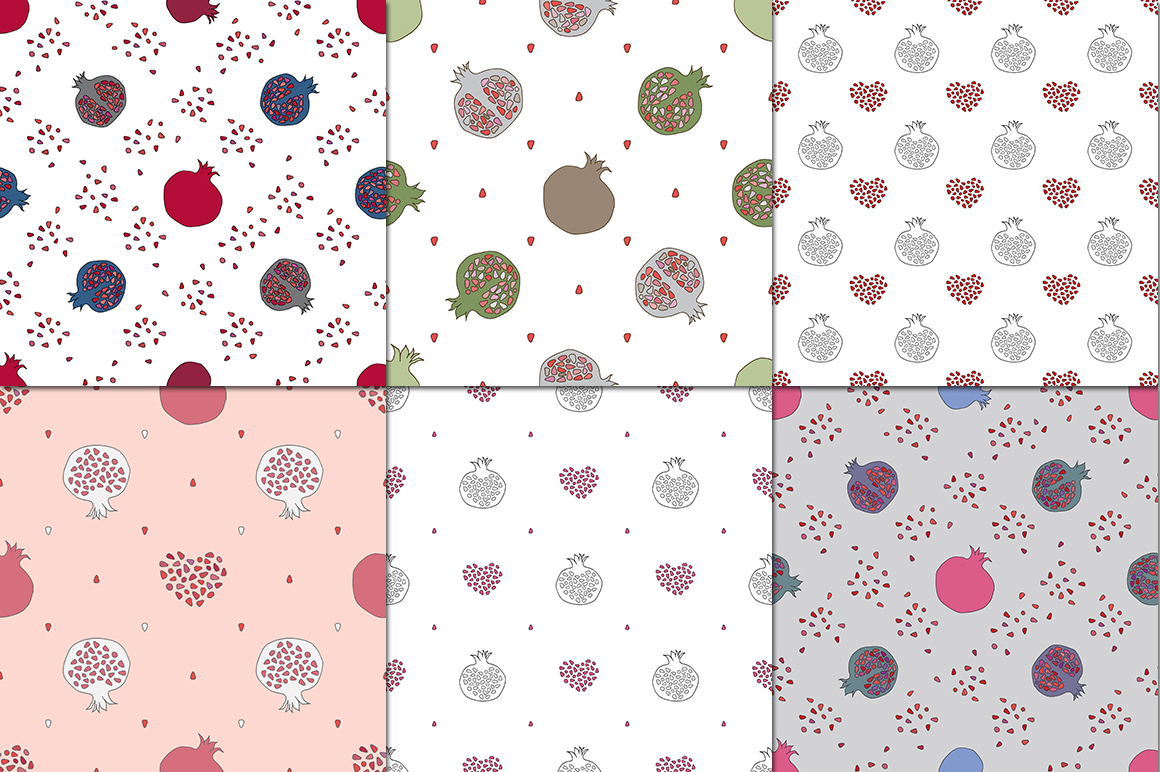 Pomegranate patterns set example image 3