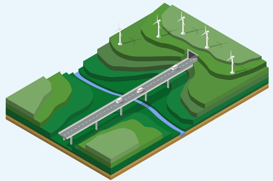 Isometric landscape with mountains example image 1