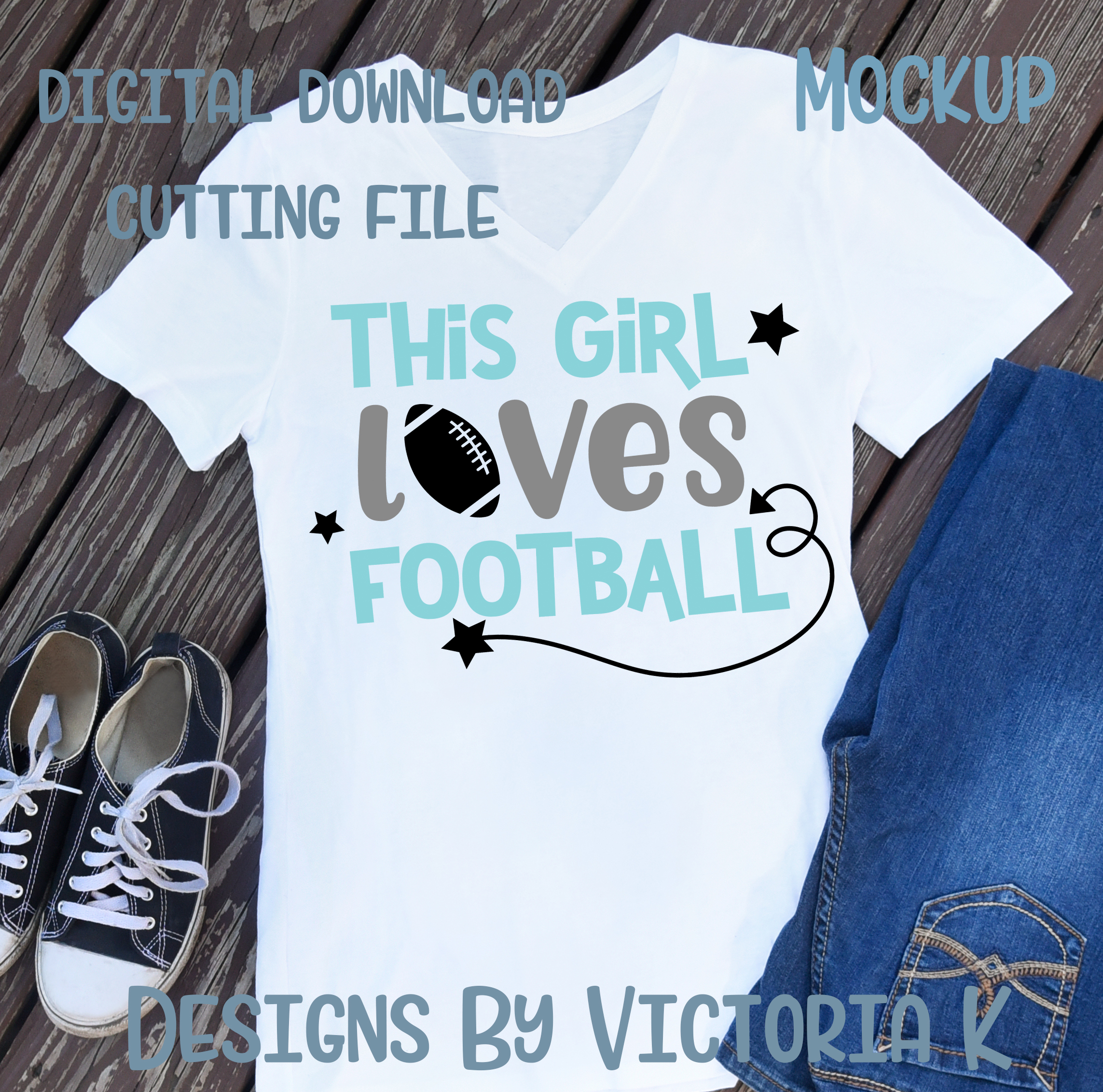This Girl Loves Football, SVG, DXF, PNG example image 2