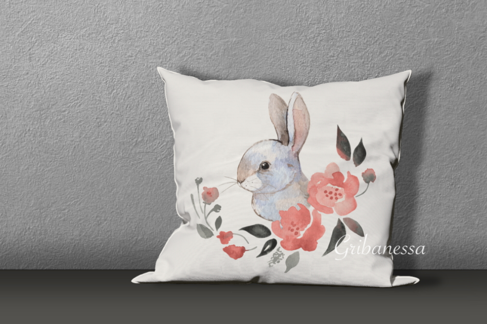 Rabbit and flowers example image 4