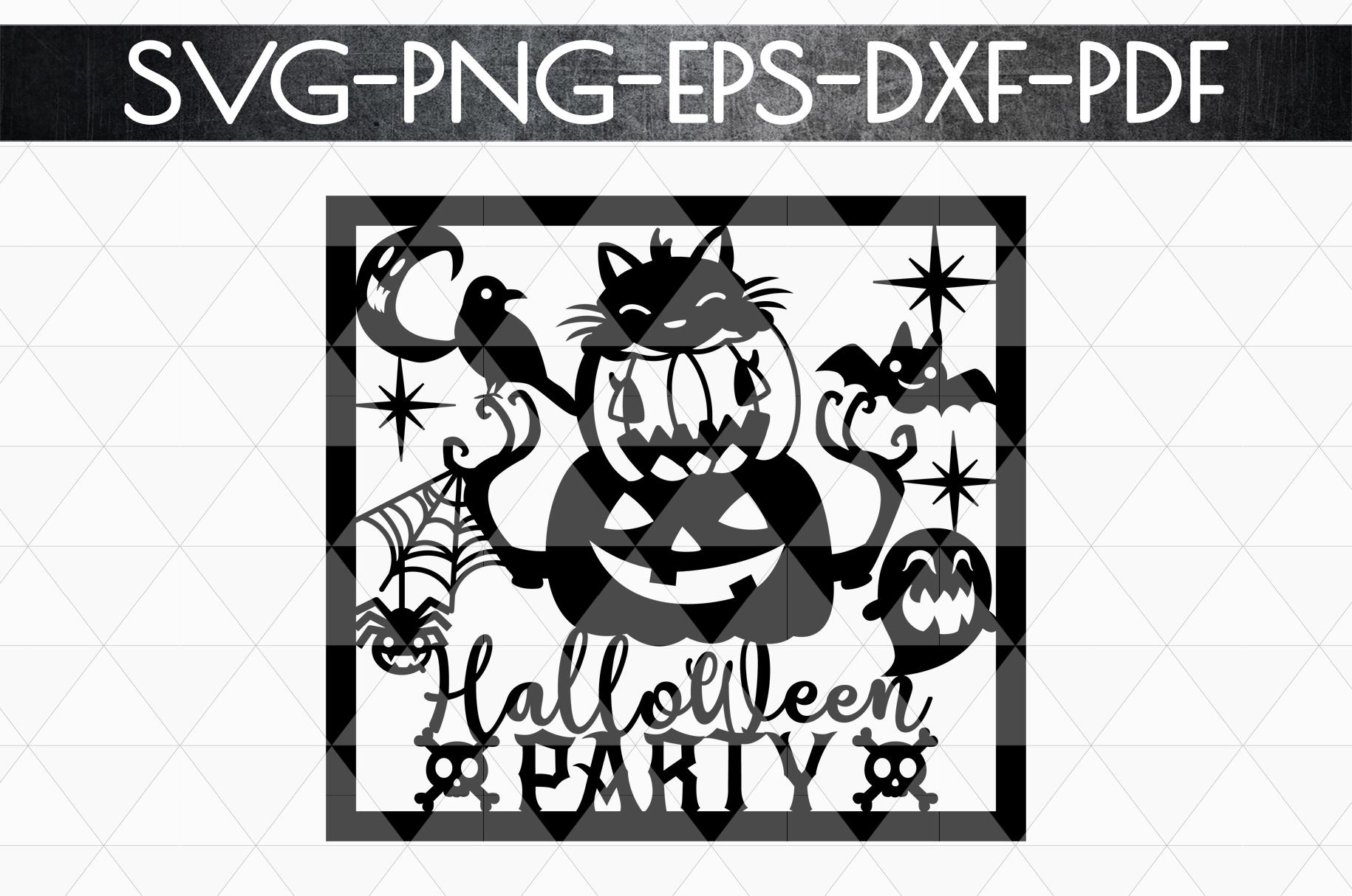 Halloween Party Papercut Template, Halloween Decor SVG, PDF example image 5