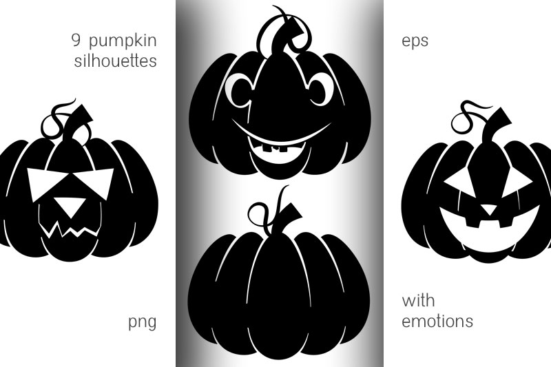 Silhouettes of pumpkins with emotions for Halloween example image 1